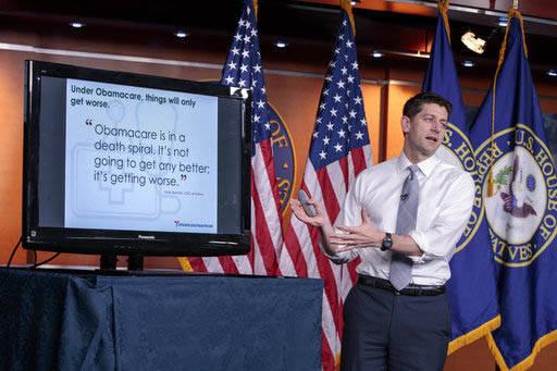 La bancada republicana en al Congreso busca apoyo para su nuevo Plan de Salud el 14 de marzzo del 2017. En esta foto de archivo el presidente de la Cámara de Representantes Paul Ryan explica, el  ...
