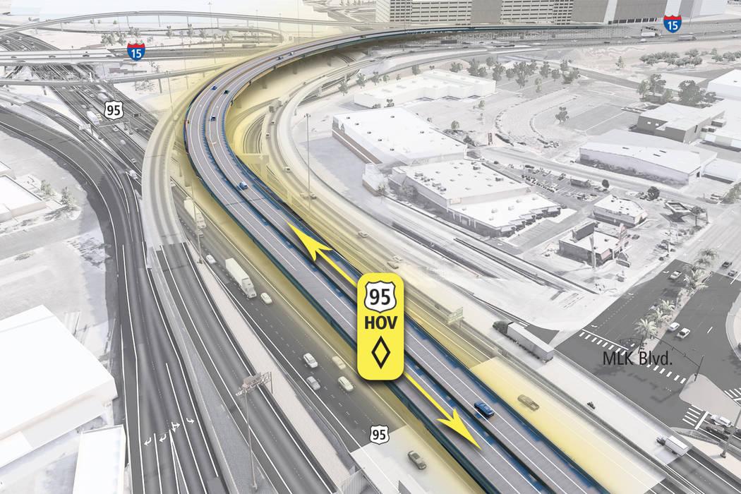 En esta gráfica del Departamento de Transporte de Nevada se puede apreciar el área donde se cierran carriles de la carretera 95 y la construcción de lo que se ve que será una rampa de 81 pies  ...