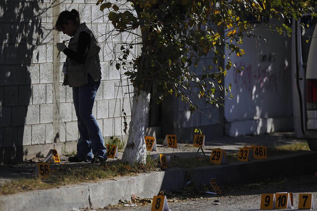 ARCHIVO. Un investigador forense trabaja en una escena del crimen donde los investigadores de la policía estatal de Chihuahua, Manuel Calderón, de 33 años, y Daniel Cruz Alfonso, de 33, fueron  ...
