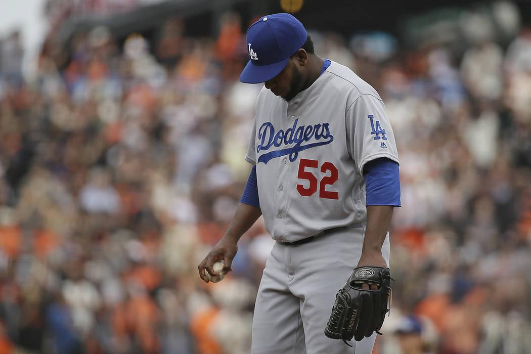 Pedro Baez, Los Angeles Dodgers. | Foto AP/Eric Risberg.