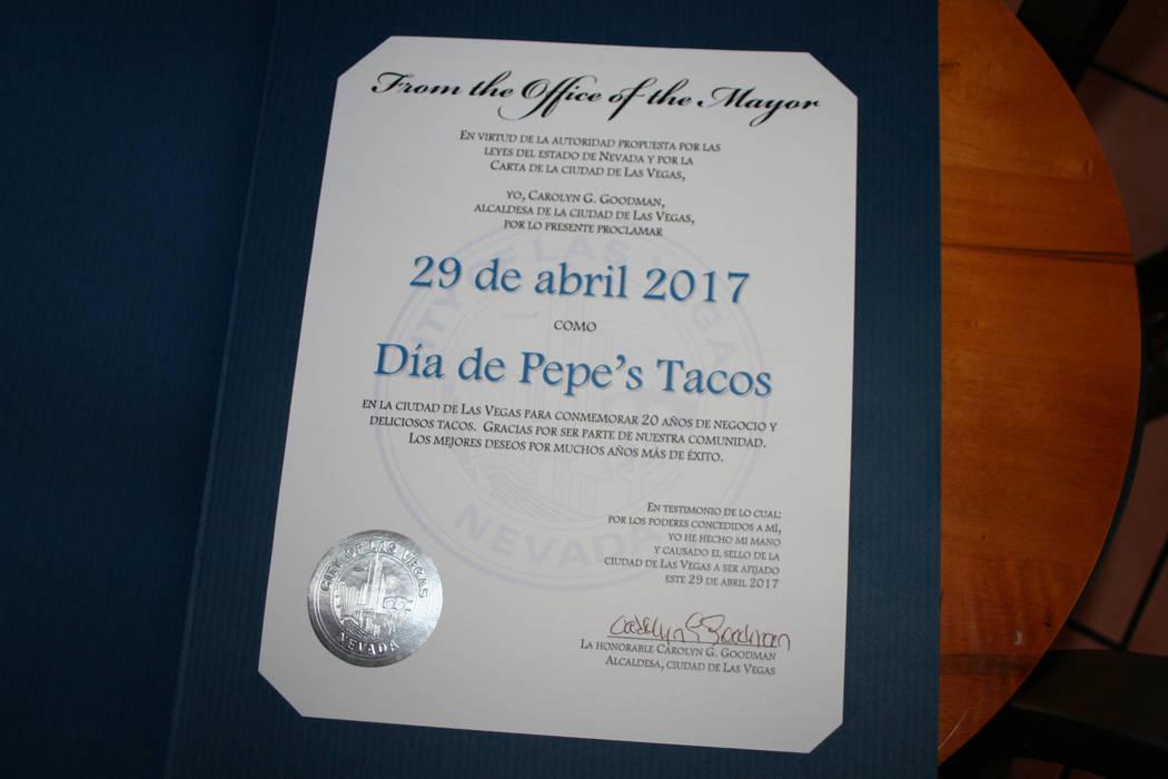 """Proclama Las Vegas el 29 de abril """"Dia de Pepe's Tacos"""".   Fotos El Tiempo/Valdemar González"""
