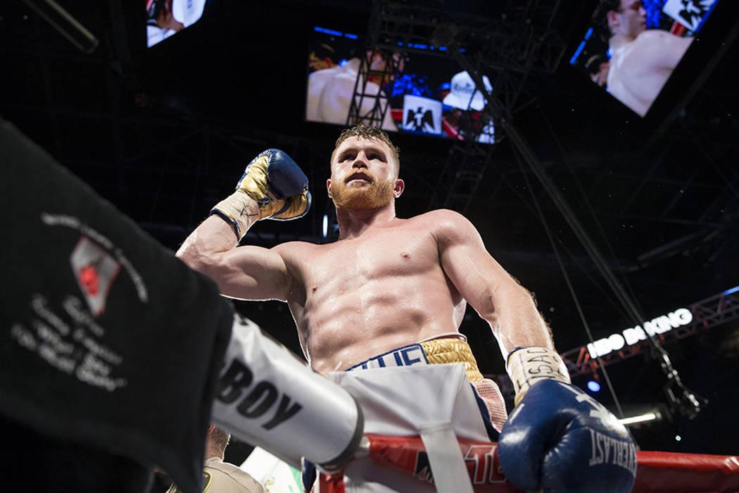 Saul Canelo Alvarez celebra su victoria contra Julio César Chávez Jr. en la pelea de peso en el T-Mobile Arena el sábado 6 de mayo de 2017 en Las Vegas. Álvarez ganó por decisión unánime. | ...