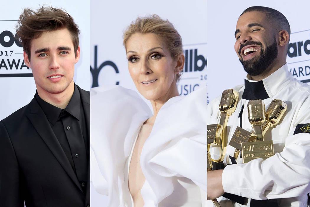 Jorge Blanco, Celine Dion y Drake. | Fotos AP