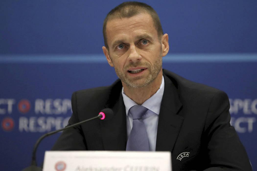 El presidente de la UEFA, Aleksander Ceferin, habla en una conferencia de prensa el jueves, 1 de junio de 2017, en Cardiff. | Foto Nick Potts/PA via AP.