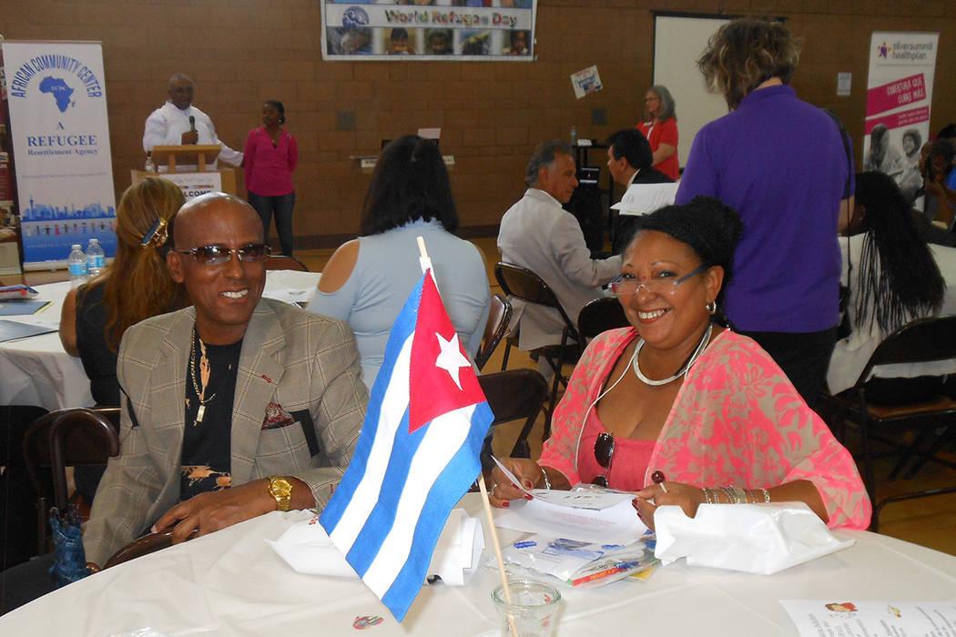 Valentín Cabrera e Irma Gómez, llegaron de Cuba. Participaron en la celebración del Día Mundial del Refugiado, organizado por la Cruz Roja, Caridades Católicas y otras organizaciones, el 23 d ...