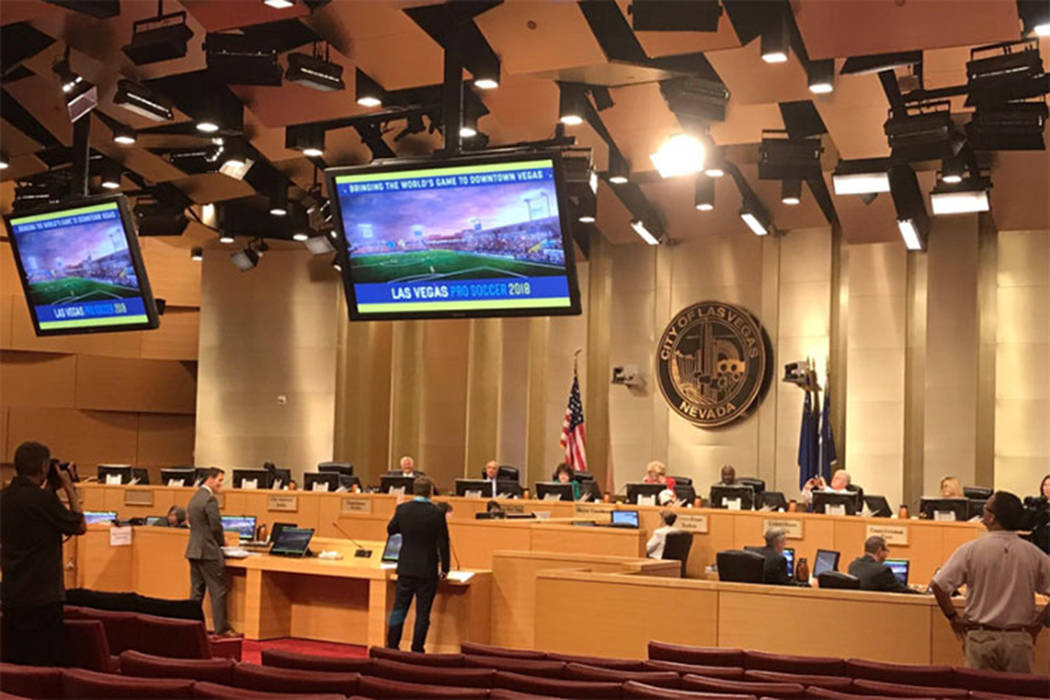 Brett Lashbrook, who founded Las Vegas Soccer LLC, makes his pitch to the City of Las Vegas to bring a United Soccer League team to Downtown Las Vegas. The city unanimously approved the pitch. (Gi ...