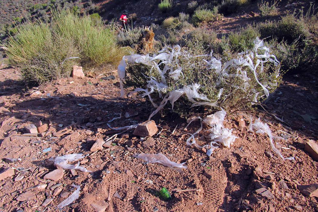 """Plásticos y otros desechos dañan la flora en Lovell Canyon, 15 de julio durante la """"Latino Conservartion Week"""".   Fotos Cortesía Sierra Club."""