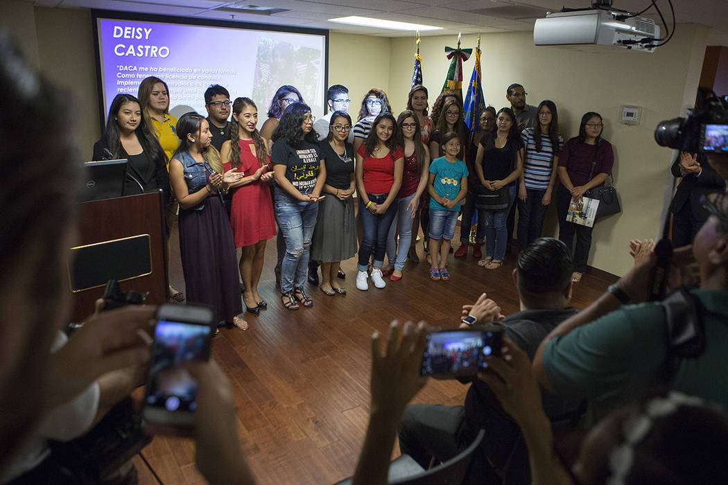 Las Vegas local 'Dreamers' gather for a photo at the end of a DACA anniversary event at the Consulate of Mexico in Las Vegas on Tuesday, Aug. 15, 2017. Bridget Bennett Las Vegas Review-Journal @br ...