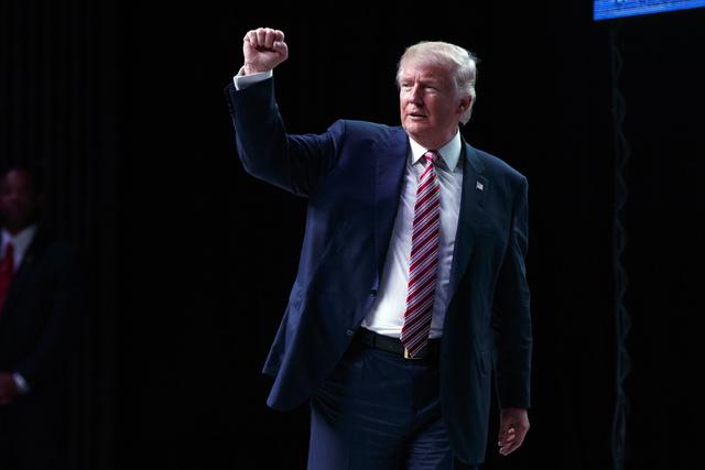 El candidato republicano a la Casa Blanca, Donald Trump levanta su puño durante un acto de campaña en Panama City, Florida, el martes 11 de octubre del 2016. (AP Photo/ Evan Vucci).