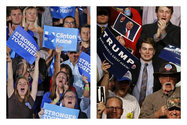 En esta combinación de fotos se observa la emoción de los seguidores de los candidatos a la presidencia: A la izquierda de la demócrata Hillary Clinton, y a la derecha del republicano Donald Tr ...