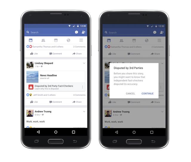"""Facebook anunció que combatirá las falsas noticias. En esta foto combinada muestra algunas de las medidas que usa para abordar el problema y se enfoca en """"lo peor de lo peor"""" de las noticias fal ..."""