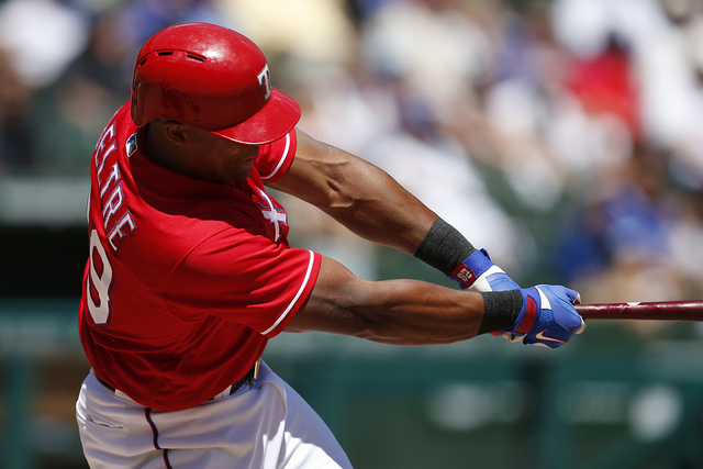 Texas Rangers' Adrian Beltre follows through on a single against the Kansas City Royals during the fourth inning of a baseball game, Sunday, July 31, 2016, in Arlington, Texas. (AP Photo/Jim Cowsert)
