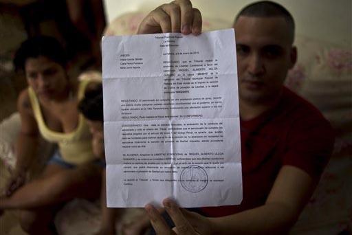 El disidente Miguel Alberto Ulloa, de 25 años, sentado en su hogar de La Habana el 9 de enero del 2015, muestra el documento que lo liberó de la cárcel. Ahora el 15 de noviembre del 2016 el gob ...