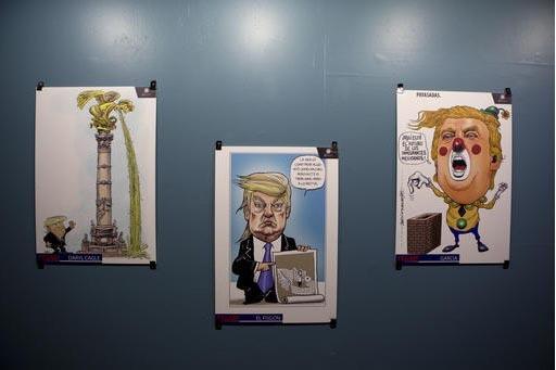 """Aquí se ven algunas de las decenas de caricaturas representando a Donald Trump, en la exposición """"Trump: un muro de caricaturas"""", en la Ciudad de México, el 10 de noviembre del 2016, en El Muse ..."""