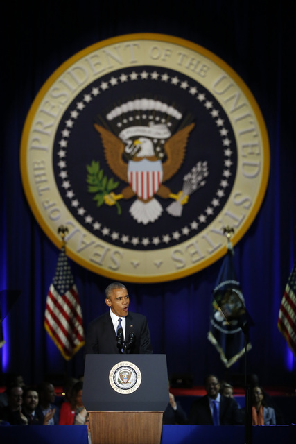 El Presidente Barack Obama ofrece su discurso de despedida del cargo, en el McCormick Place, en Chicago, el martes 10 de enero del 2017. (AP Photo/Charles Rex Arbogast).