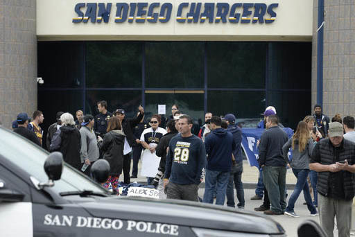Fans de San Diego Chargers se juntan frente a la sede del equipo en San Diego, el 12 de enero del 2017, para protestar que se cambiará a Los Angeles. (AP Photo/Denis Poroy).