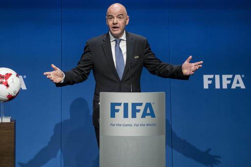 Gianni Infantino, presidente de la FIFA habla después de una reunión del Consejo de la FIFA, en Zurich, Switzerland, en enero 10 del 2017. La FIFA ampliará a 48 equipos la Copa del Mundo del 20 ...