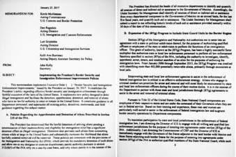 Esta imagen muestra unas de las 11 páginas de un memorandum del Departamento de Seguridad Nacional que propone militarizar la búsqueda de indocumentados en el pais, usando hasta 100 mil tropas d ...