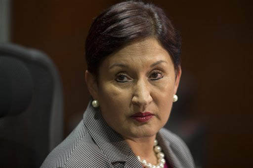 La Procuradora General de Justicia, de Guatemala, Thelma Aldana, aparece en esta foto de archivo de septiembre 1 del 2015, durante una cocnferencia de presnsa en la Ciudad de Guatemala. (AP Photo/ ...