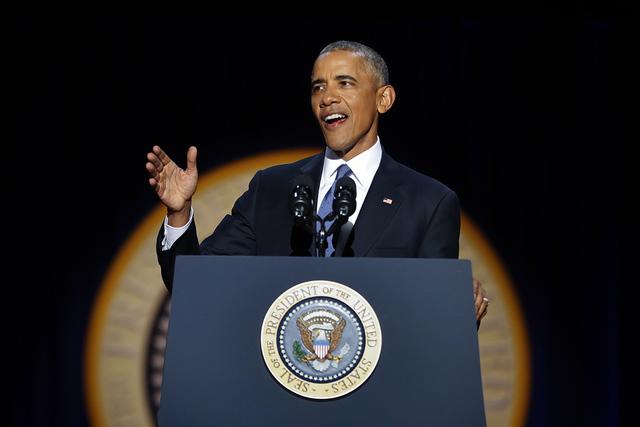 El presidente Barack Obama habla durante su discurso de despedida en McCormick Place, en Chicago, el martes 10 de enero de 2017. | AP Photo / Pablo Martínez Monsiváis