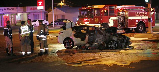 Esta es la escena del choque entre un auto y una motocicleta, la noche del 15 de de febrero del 2017, en West Charleston Blvd. y Arville. (Chitose Suzuki/Las Vegas Review Journal).