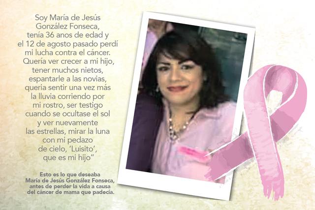 María de Jesús González Fonseca, perdió la batalla contra el cáncer de seno, el 12 de agosto de este año. | Foto Cortesía