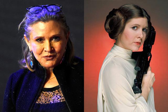"""Carrie Fisher en fotos de archivo: en Londres, el 16 de diciembre del 2015, y en """"Star Wars"""" en su papel de Princess Leia. Fisher falleció el 27 de diciembre del 2016, a los 60 años de edad. (Pa ..."""