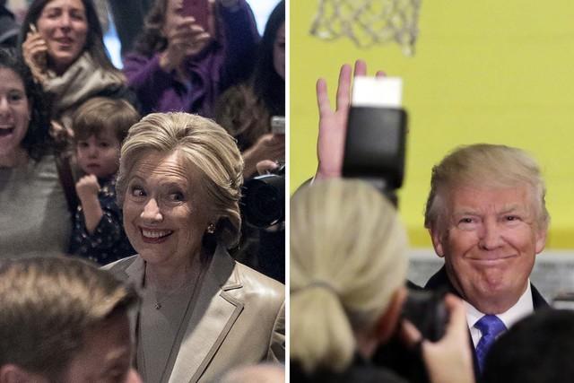 Fotografía combinada de los entonces candidatos a la presidencia Hillary Clinton y Donald Trump, del 8 de Noviembre del 2016. (Foto Archivo/AP/Andrew Harnik, Richard Drew).