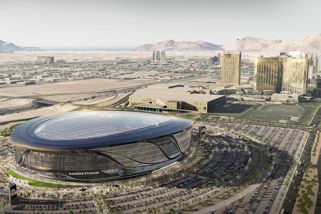 Una muestra artística de cómo luciría un estadio de fútbol al sur del Strip, según el proyecto presentado por un grupo de desarrolladores urbanos que incluye Las Vegas Sands Corp. y los Raide ...