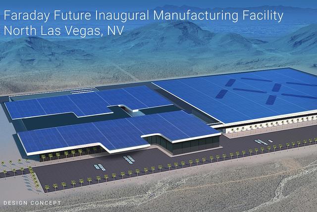 Esta imagen artística muestra lo que sería la fábrica de autos eléctricos Faraday Future, en el parque industrial APEX, de North Las Vegas. En noviembre del 2016 el proyecto de la obra entró  ...