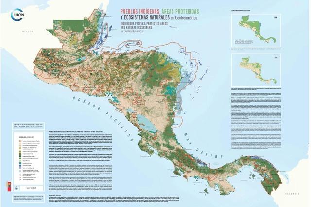 Así se ve el territorio centroamericano según un mapa reciente dado a conocer en mayo pasado en la ONU, en Nueva York, durante una reunión de la Unión Internacional para la Conservación de la ...