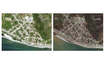 Esta combinación de imágenes de satélite, cortesía de DigitalGlobe muestra el pequeño poblado de Port-a-Piment, Haiti, en junio del 2013 (izquierda), y luego el 9 de octubre del 2016 cuando r ...