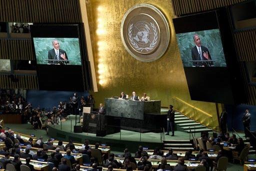 El presidente de los Estados Unidos, Barack Obama, habla ante la Asamblea General de las Naciones Unidas, en la 71a. Sesión, el martes 20 de septiembre. (AP Photo/Carolyn Kaster).