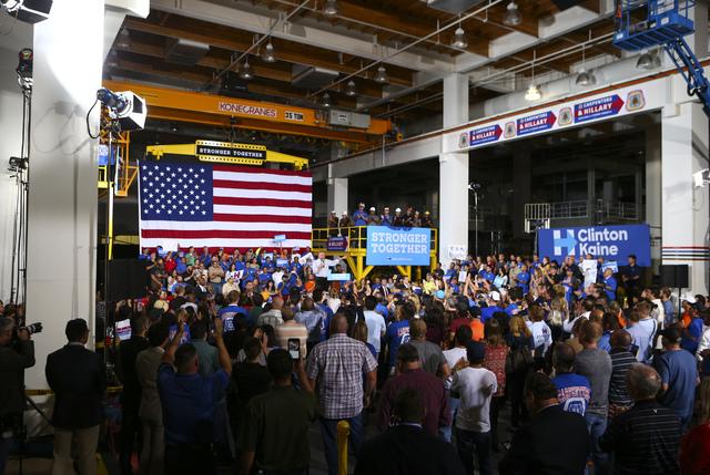 El candidato demócrata a la vicepresidencia de los Estados Unidos, senador Tim Kaine, sostuvo un evento de campaña en el Centro de Capacitación de la Hermandad Unida de Carpinteros, en Las Vega ...