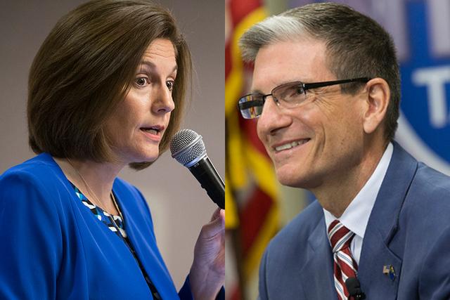 Candidatos al senado representando a Nevada en Washington: demócrata Catherine Cortez Masto y republicano Joe Heck. (Foto Archivo).