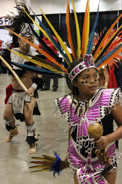 La danza azteca Xochipilli llamó la atención por su originalidad durante su presentación en La Oportunidad Expo 2016 en el Cashman Center, el sábado 1 de octubre. Foto El Tiempo