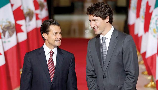 Presidente de México Enrique Peña Nieto y el primer ministro de Canadá Justin Trudeau. | Foto Agencia