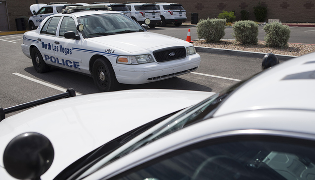 Police vehicles are seen at the North Las Vegas Police Headquarters on Wednesday, May 4, 2016, in North Las Vegas. Erik Verduzco/Las Vegas Review-Journal Follow @Erik_Verduzco