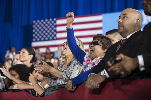 Simpatizantes del president Barack Obama durante un evento de campaña, en Cheyenne High School, el domingo 23 de octubre de 2016 en North Las Vegas. Benjamin Hager/Las Vegas Review-Journal