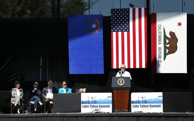 El senador Harry Reid (D-NV) líder de la bancada demócrata en Washington, durante su participación en la XX Cumbre del Lago Tahoe, el 31 de agosto al norte de Nevada en los límites con Califor ...
