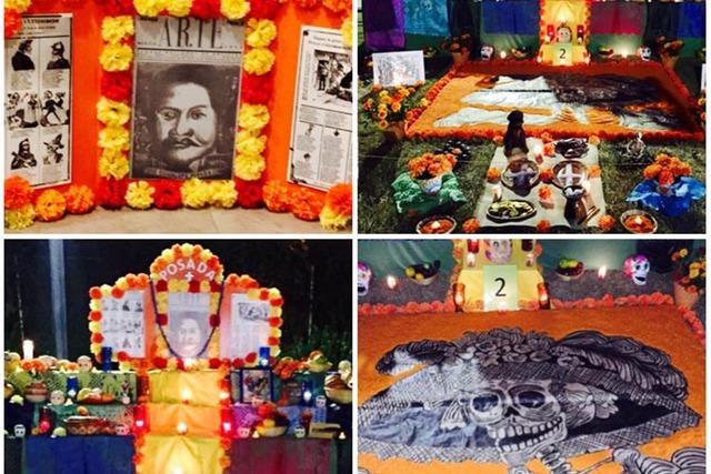 Combinación de cuatro fotos de la ofrenda a Jose Guadalupe Posada, durante la celebración del Día de Muertos en el Winchester Cultural Center, 1 y 2 de noviembre del 2016. (Cortesía Brissa Arana).