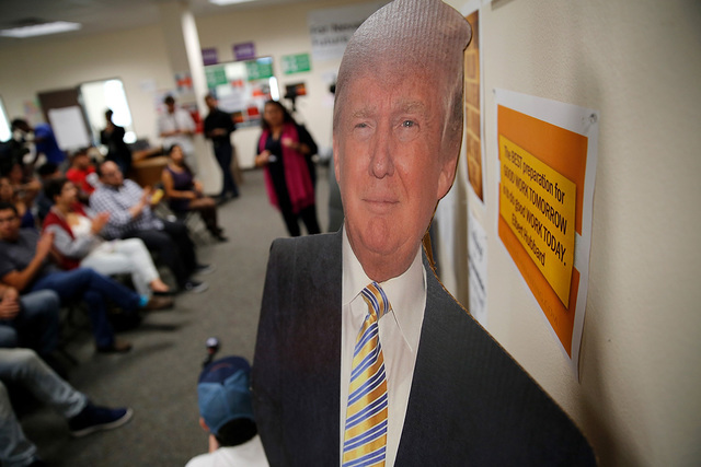 "Una foto recortada en cartón del candidato republicano Donald Trump fue vista en evento de ""For Nevada's Future"" en North Las Vegas. 