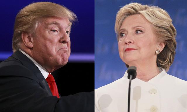 Esta imagen combina dos fotos de los candidatos a la presidencia, el republicano Donald Trump y la demócrata Hillary Clinton, tomadas durante su debate en Las Vegas, el 19 de octubre del 2016. (C ...
