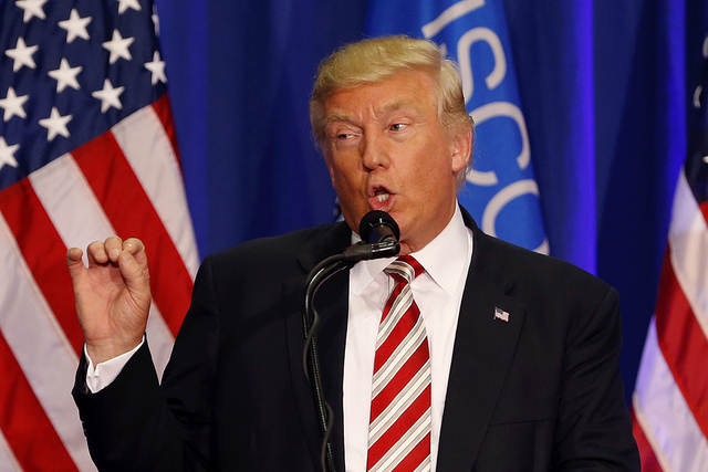 FILE - In this Tuesday, Aug. 16, 2016 file photo, Republican presidential candidate Donald Trump speaks at a campaign rally in West Bend, Wis. Trump is overhauling his campaign again, bringing in  ...