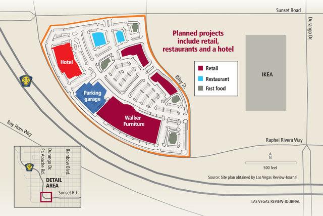 El proyecto de Walker Furniture incluye restaurantes, tiendas minoristas y un hotel. (Gabriel Utasi/Las Vegas Review-Journal).
