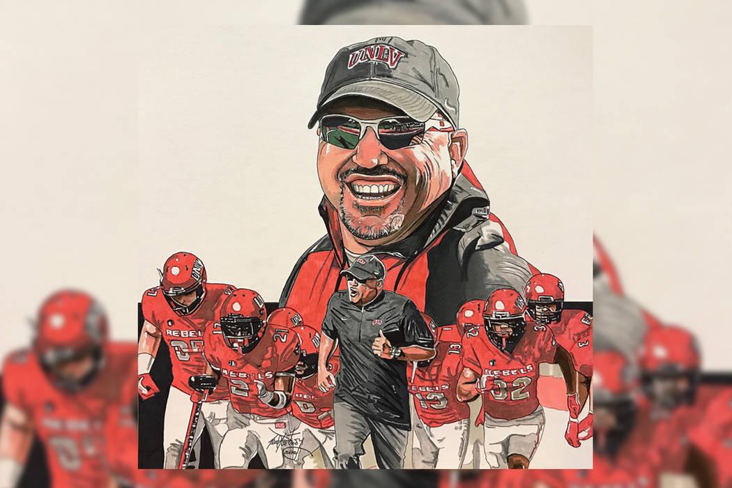 Ilustración del entrenador de fútbol americano deUNLV, Tony Sánchez. Neal Portnoy/ Las Vegas Review-Journal.
