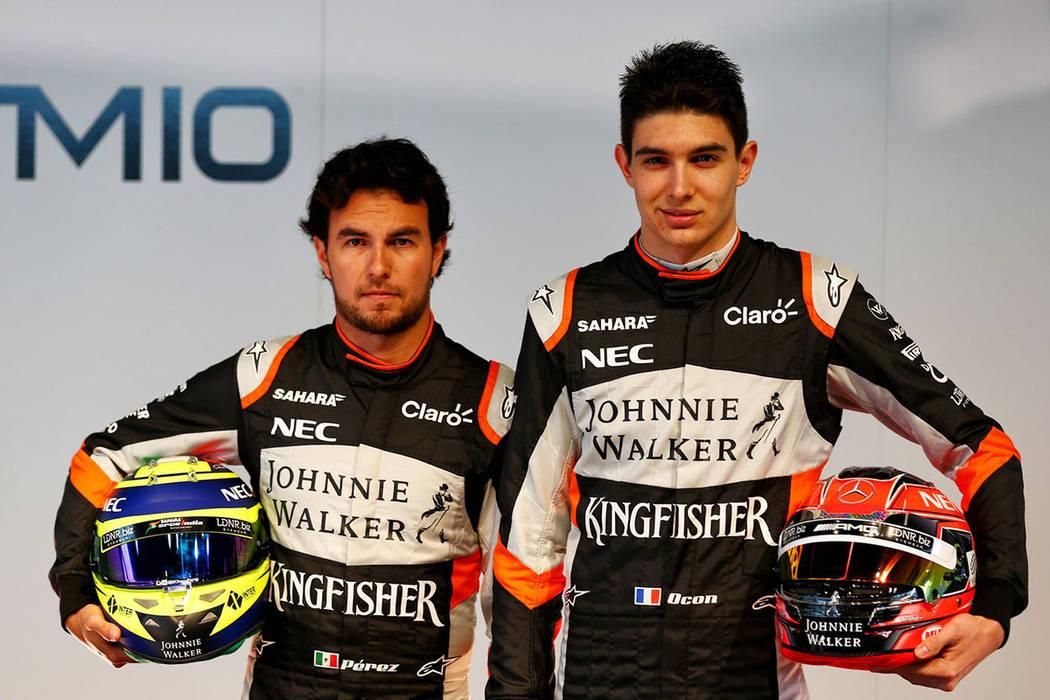 El mexicano Sergio Checo Pérez y su compañero galo en Force India Esteban Ocon.   Foto Cortesóa