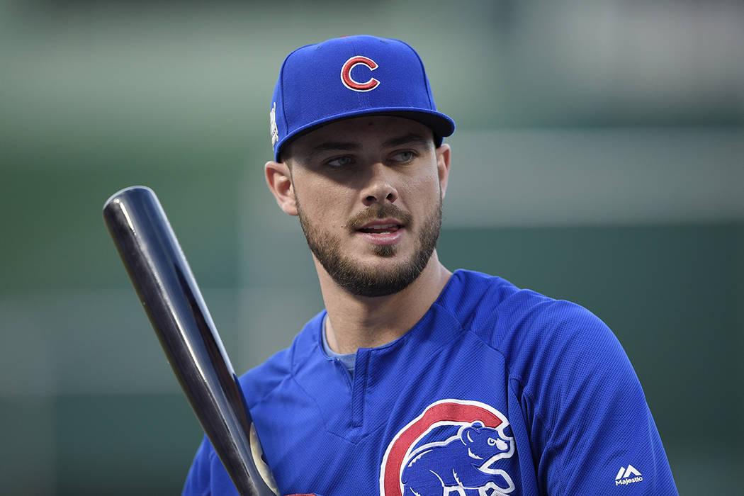 Chicago Cubs 'Kris Bryant se ve durante la práctica en Nationals Park, jueves, 5 de octubre de 2017, en Washington. El juego 1 de la Serie de la División de Liga Nacional contra los Nacionales d ...