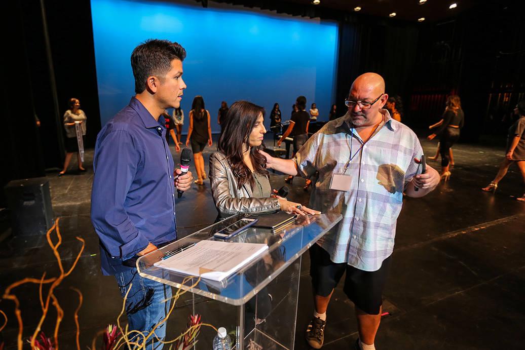 Carlos Méndez y Noybel Gorgoy y los conductores del certamen Miss El Tiempo y Miss Teen El Tiempo 2018, ensayaron previo al evento, el sábado 7 de octubre, 2017, en el Lowden Theater en Las Vega ...
