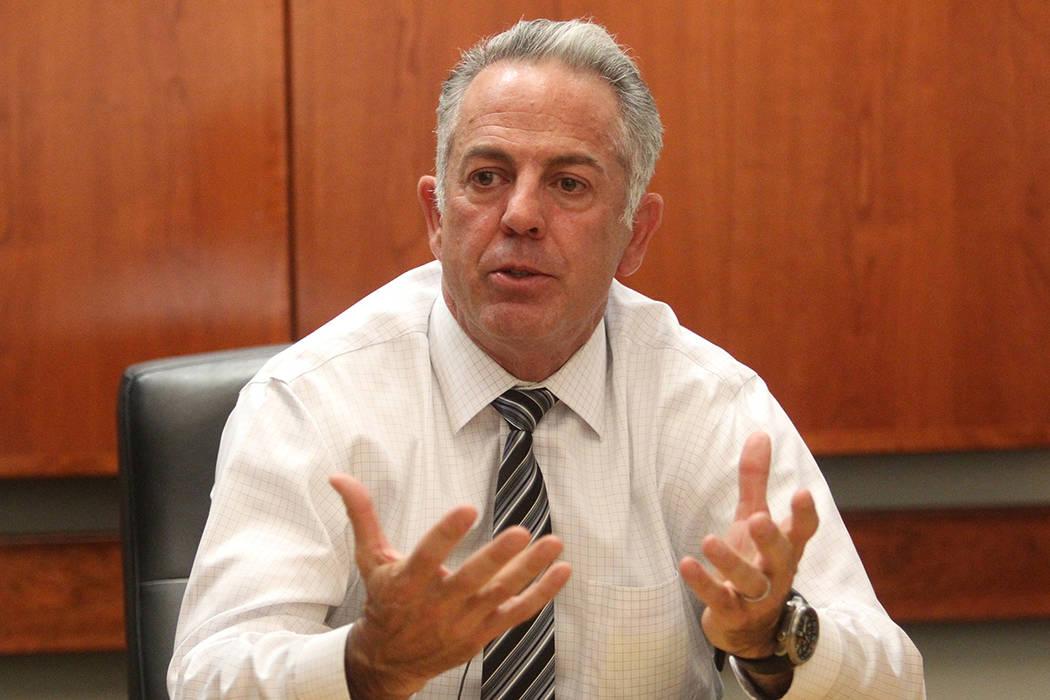 El comisario Joe Lombardo del condado de Clark discute el tiroteo masivo del festival de la ruta 91 durante una entrevista exclusiva con el Las Vegas Review-Journal el martes, 10 de octubre de 201 ...